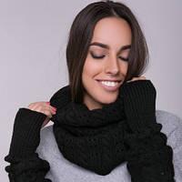 Снуд хомут черный, вязаный, шарф женский, шерсть