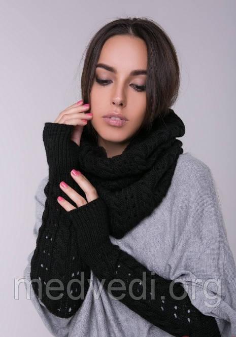 черный женский снуд хомут шарф