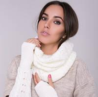 Снуд хомут белый, вязаный, шарф женский, шерсть