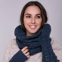 Снуд хомут синий, вязаный, шарф женский, шерсть