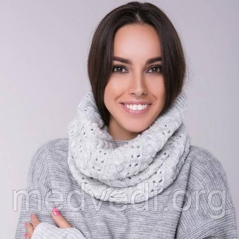 Снуд хомут светло-серый, вязаный, шарф женский, шерсть