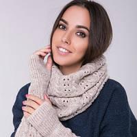Снуд хомут бежевый, вязаный, шарф женский, шерсть