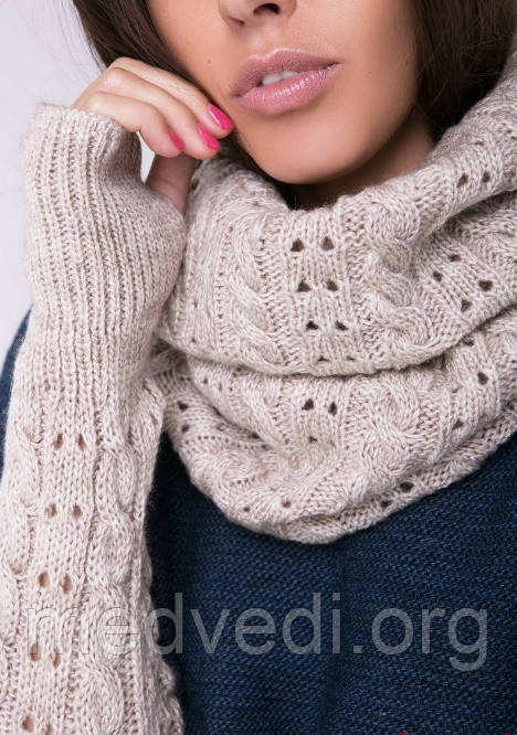 бежевый шарф снуд хомут женский
