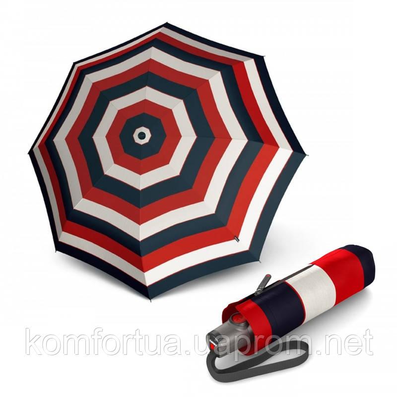 Зонт складной Knirps T.100 Small Duomatic Stripe Red автоматический