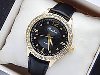 Женские наручные часы Pandora, золотистого цвета, черный циферблат, на черном кожаном ремешке, со стразами, фото 1