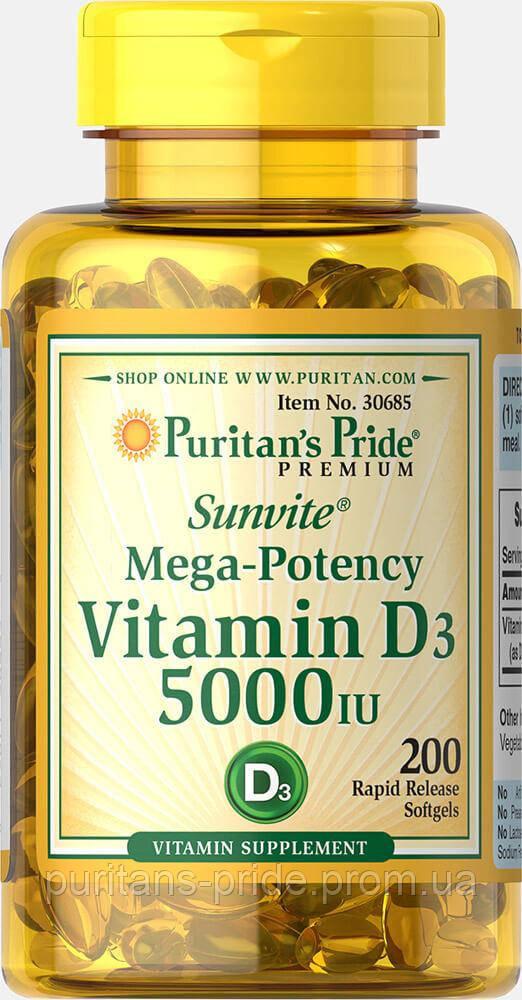 Вітамін d3, Puritan's Pride Vitamin D3 5000 200 IU Softgels