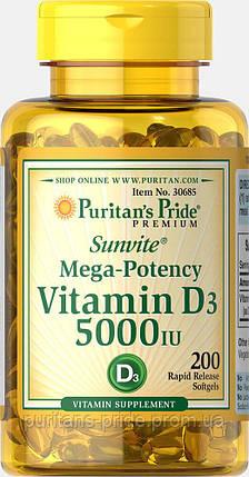Вітамін d3, Puritan's Pride Vitamin D3 5000 200 IU Softgels, фото 2