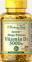 Витамин  Д3, Puritan's Pride Vitamin D3 5000 IU 200 Softgels