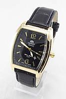 Мужские наручные часы Orient (золотой корпус, черный ремешок)