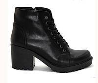 Ботинки женские Wright осень-весна/зима на невысоком каблуке кожаные черные 0025ВРТ