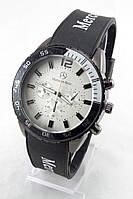 Мужские наручные часы Mersedes-Benz (серебристый циферблат, черный ремешок) (Копия)