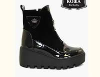 Ботинки женские Wright осень-весна/зима на танкетке натуральные кожаные черные 0027ВРТ