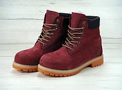 Зимние ботинкиTimberland Bordo, мужские ботинки с натуральным мехом. ТОП Реплика ААА класса.
