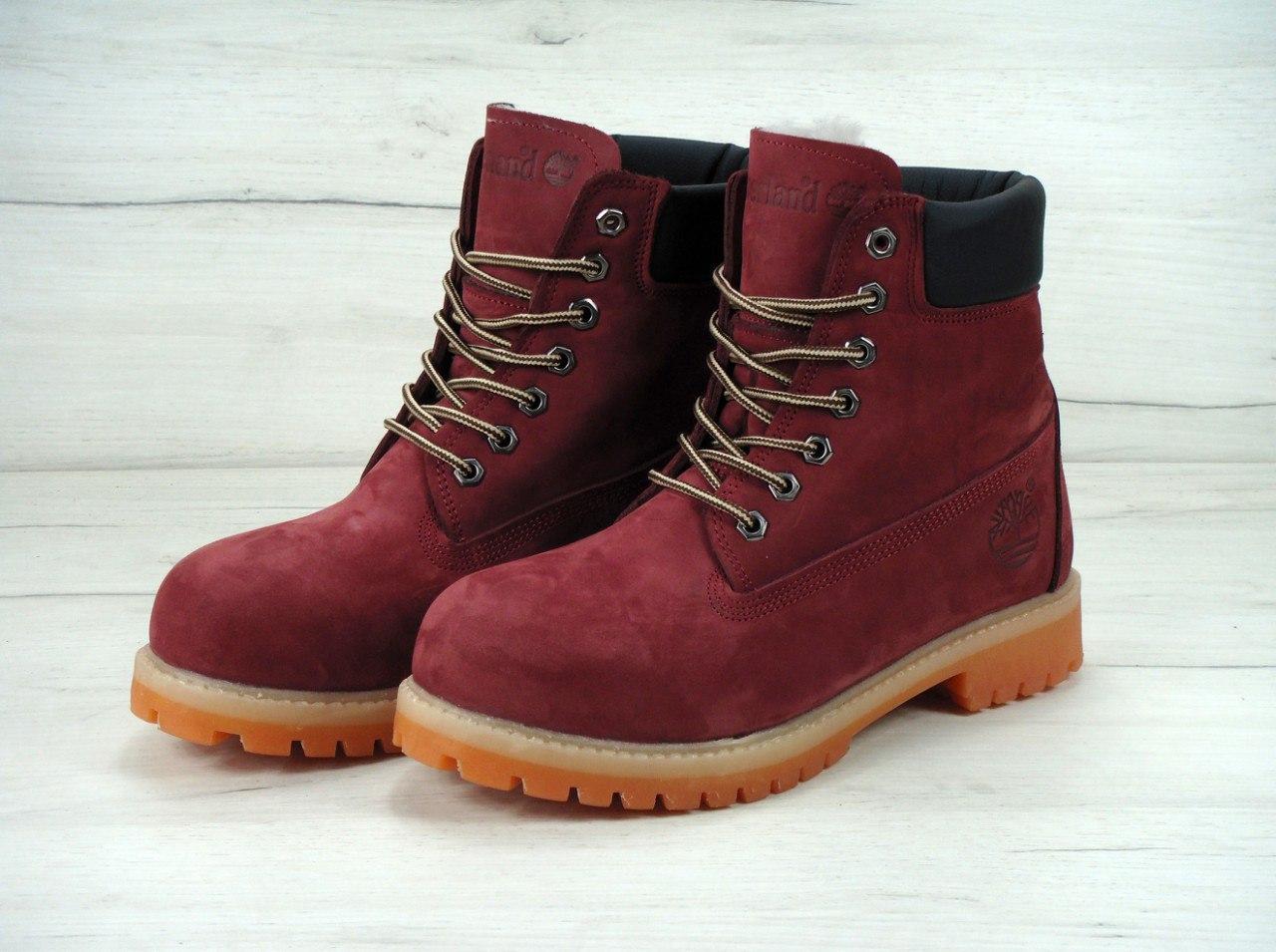 Зимние ботинкиTimberland Bordo, мужские ботинки с натуральным мехом 7224a168f7b