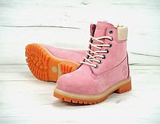 Зимові черевики Timberland Pink, жіночі черевики з штучним хутром. ТОП Репліка ААА класу., фото 2