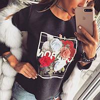 Свитер женский на флисе с цветами, фото 1