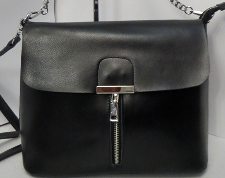 1bb9234ed2cf Женская кожаная сумка чёрного цвета с декоративным замочком - Интернет-магазин  стильных сумок