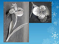 Подвеска новогодняя Цветок, серебро