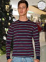Теплая мужская футболка (кофта) (Темно синий, красный)