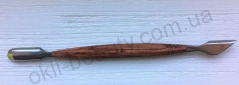 Пушер (лопатка) двухсторонний с деревянной ручкой