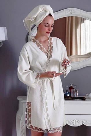 Халат жіночий Tivolyo Home bamboo BIANCA білий M, фото 2