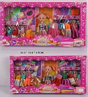 Кукла маленькая 688901/2  2 вида, с набором одежды, аксес