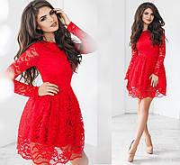 Чудесное вечернее гипюровое платье. Красное, 6 цветов. Р-ры: 42,44,46.