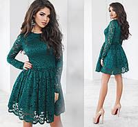 Чудесное вечернее гипюровое платье. Изумрудное, 6 цветов. Р-ры: 42,44,46.