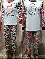 Теплая пижама для девочки подростка с красочным принтом 38-44, женские пижамы оптом от производителя