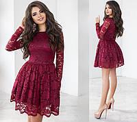 Чудесное вечернее гипюровое платье. Марсала, 6 цветов. Р-ры: 42,44,46.