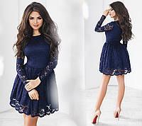 Чудесное вечернее гипюровое платье. Синее, 6 цветов. Р-ры: 42,44,46.
