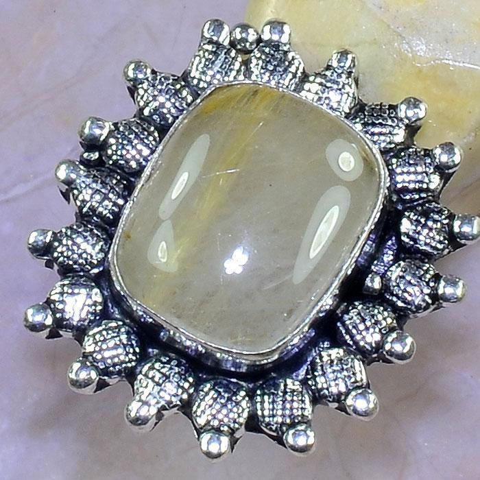 Кольцо с кварцем. Кольцо с камнем кварц волосатик в серебре размер 16,5 Индия
