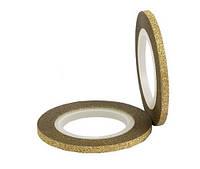 Бархатная лента для ногтей (золото), 3 мм