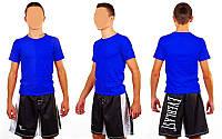 Футболка спортивная детская однотонная без рисунков CO-4490B-3(L) синий (х-б, р-р L-7-8 лет)