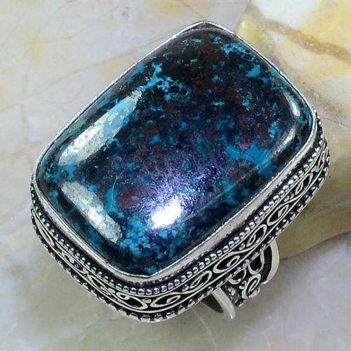 Превосходное квадратное кольцо с камнем хризоколла в серебре кольцо с хризоколлой 18-18,5 размер.