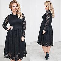 Чудесное вечернее гипюровое платье. Чёрное, 6 цветов. Р-ры: 48,50,52,54.