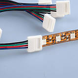 Коннектор RGB LED ленты провод + 2 зажима 4pin, фото 5