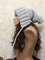 Объемная шапка  капюшон с пом помном, вязаная вручную