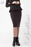 Стильная женская  вязаная юбка-карандаш  чёрного цвета