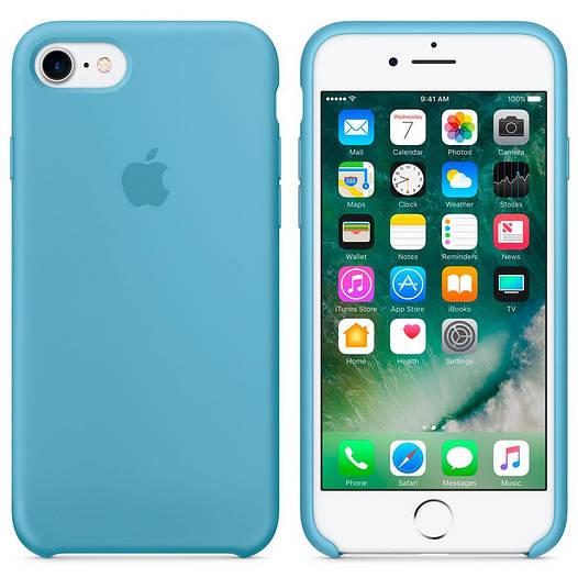 Чехол Apple Silicon Case для iPhone 7  Aqua Blue