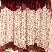 Купить тюль готовая на кухню, в детскую, спальню Kira бордо