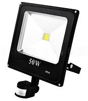Прожектор светодиодный матричный slim с датчиком движения yt-50w smd, sensor, 4500lm, ip66 (влагозащита) -  lo