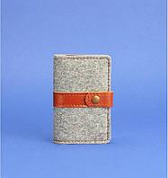 Визитница, кард-кейс из фетра на 10 шт. коньяк (ручная работа), фото 1