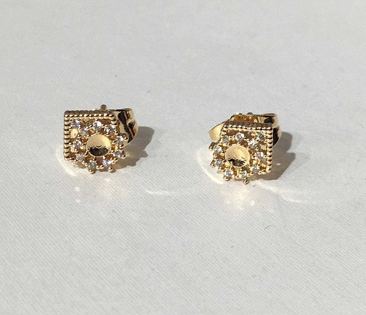 Серьги гвоздики солнышко в короне Xuping