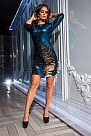 Платье пайетка двухцветная   р-ры 42-50