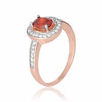 Позолоченное кольцо с красным камнем из серебра К3ФГ/482