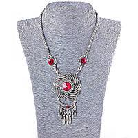 Колье на шею с крупными красными и белыми стразами, цвет металла серебро, длина 45-50см Код:574778325