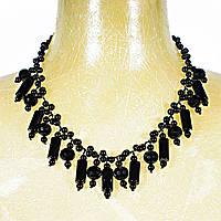 Ожерелье из чёрного агата с подвесками разной формы, длина 60см