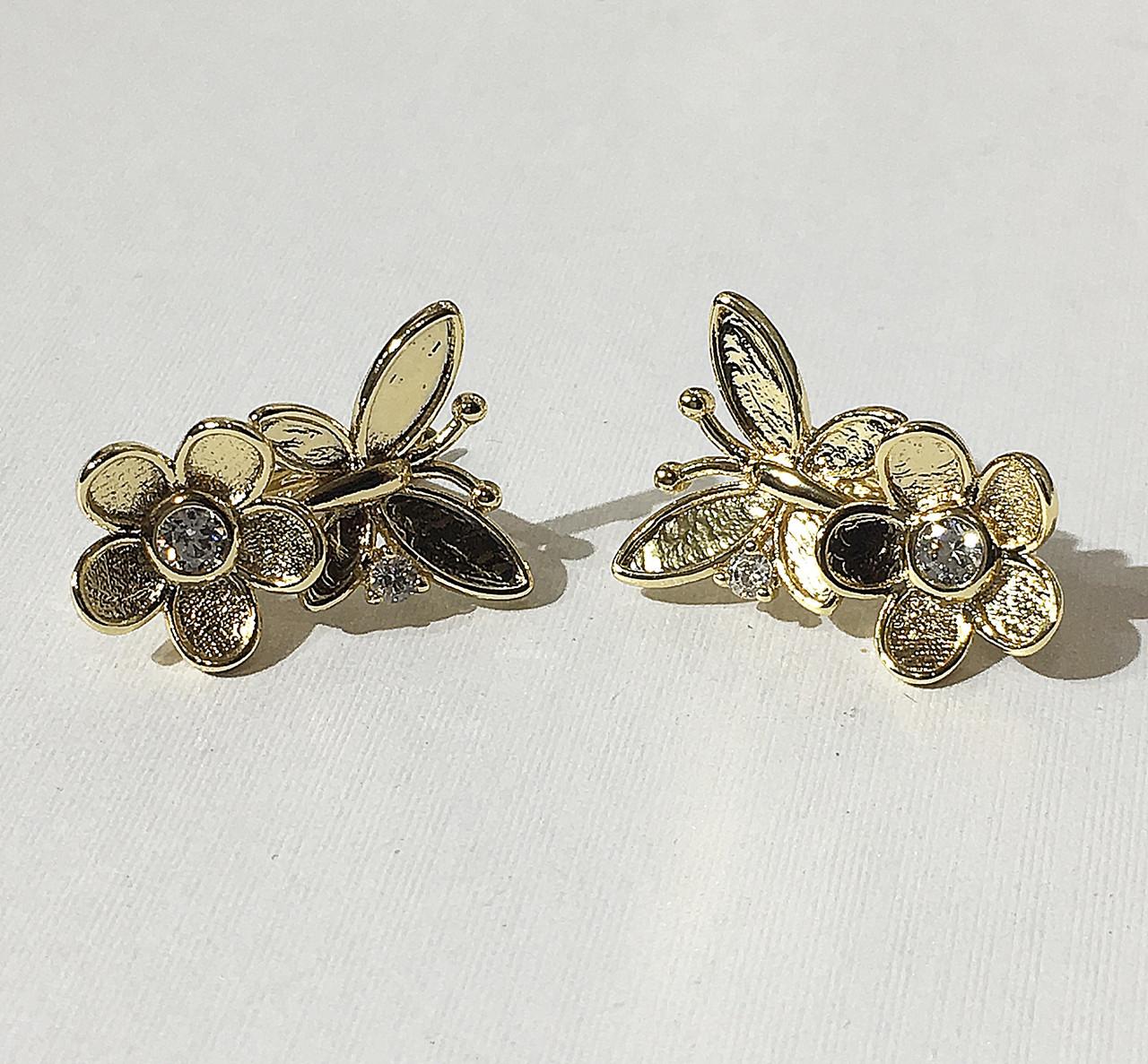 Серьги Бабочка на цветочке (под европейское золото 750 пробы)