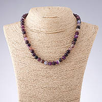 Бусы Агат фиолетовые тона гладкий шарик   d-8мм L-44см Код:574782981